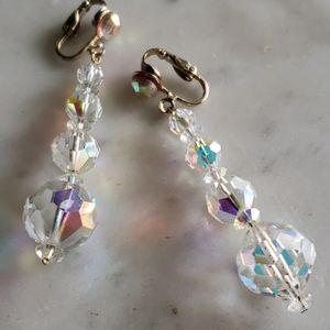 Vintage Crystal Drop Earrings Leverback